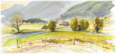 aquarell - landschaft, b채ume, lechthaler